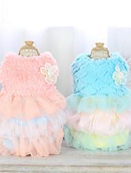 abordables -Chien Robe Vêtements pour Chien Décontracté / Quotidien Couleur Pleine Nœud papillon Bleu Rose Costume Pour les animaux domestiques