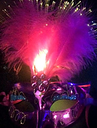 1pc levou cor aleatória natal estágio hallowmas bola moderno máscara fancywork noite luz