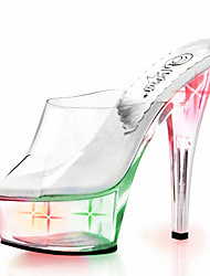 15CM nightclub LED SHOES flash sandals / Women's Heels Transparent Platform / Personality light shoes / / Crystal Heel /personality