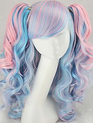 cheap -Fashion Color Cartoon Wig COS Double Tiger Clip Horsetail Mixed Color Wig
