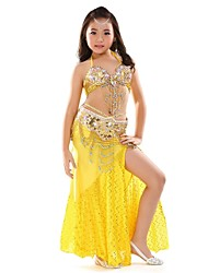 cheap -Belly Dance Outfits Performance Chiffon Sequin Split Front Sleeveless Dropped Top Skirt Belt