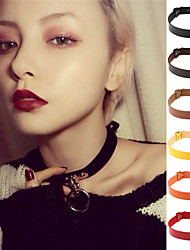cheap -13 Colors Vintage Women Men Jewelry Punk Goth Rivet Choker Necklace Leather Collares Necklace