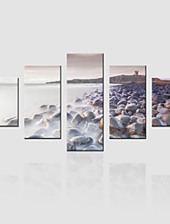 JAMMORY Canvas Set Landscape Modern,Five Panels Gallery Wrapped, Ready To Hang Vertical Print No Frame Stone Beach