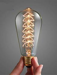 Недорогие -1шт 40 W E26 / E27 ST64 Тёплый белый 2300 k Ретро / Диммируемая / дерево Лампа накаливания Vintage Эдисон лампочка 220-240 V