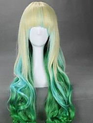 economico -Donna Parrucche sintetiche Senza tappo Ondulati Viola Verde Capelli schiariti Con frangia parrucca del costume costumi parrucche