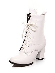 Da donna Scarpe Finta pelle Primavera Autunno Inverno Stivali Stivaletti Footing Quadrato Per Casual Bianco Nero Borgogna