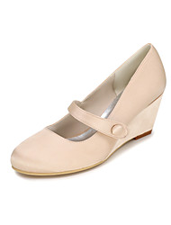cheap -Women's Shoes Silk Spring Summer Heels Wedge Heel Buckle for Wedding Party & Evening Red Blue Pink Champagne Ivory