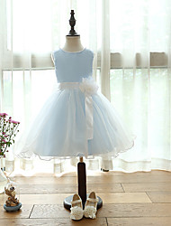 cheap -A-Line Knee Length Flower Girl Dress - Organza Satin Sleeveless Jewel Neck with Bow(s) Flower by