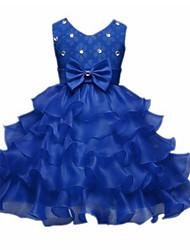robe de bal longueur de thé robe de fille de fleur - organza en dentelle bijou sans manche avec ruban par ydn