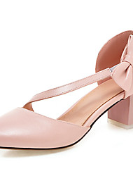 cheap -Women's Shoes Leatherette Spring / Summer D'Orsay & Two-Piece Heels Chunky Heel Bowknot / Stitching Lace / Flower White / Blue / Pink