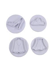 cheap -4Pcs Lady Shose and Cloth Set Fondant Craft Mould Sugar Craft Tools