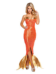 Cosplay Costumes/Party Costumes Mermaid Tail Halloween / Christmas / Carnival Golden / Orange Vintage Terylene Dress