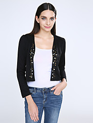 cheap -Women's White/Black Blazer,Shirt Collar Puff Sleeve