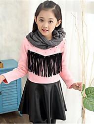 お買い得  -女の子の 日常 コットン ドレス 冬 長袖 フローラル パール ブラック レッド ピンク