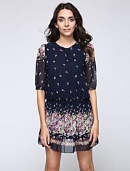 Feminino Rodado Vestido,Casual Tamanhos Grandes Simples Floral Decote Redondo Mini Poliéster Verão Cintura Baixa Sem Elasticidade