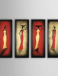Ready To Hang Hand-Painted Southeast Asian Style African women Oil Painting on Canvas 4pcs/set Whit Frame