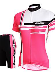 Недорогие -Жен. С короткими рукавами Велокофты и велошорты - Красный Розовый Сплошной цвет Велоспорт Шорты Джерси Шорты с защитой Дышащий 3D-панель Быстровысыхающий Со светоотражающими полосками Задний карман