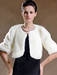 cheap -Faux Fur Wedding Party Evening Women's Wrap With Feathers / Fur Shrugs