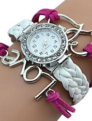 baratos -Mulheres Relógio de Pulso Legal / / PU Banda Vintage / Casual / Borboleta Branco / Vermelho / Marrom / Aço Inoxidável