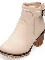 Feminino-Botas-Inovador Botas de Cowboy Botas de Neve Botas Montaria Botas da Moda-Salto Grosso-Preto Rosa Bege-Sintético Couro
