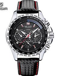 baratos -MEGIR Homens Relógio Esportivo / Relógio de Pulso Calendário / Cronógrafo / Noctilucente Couro Banda Casual / Relógio Elegante Preta / Marrom