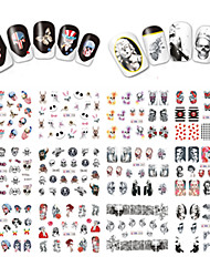 cheap -12 Designs Nail Art Halloween Image Colorful Skull Lady Ghost Nail Beauty BN193-204