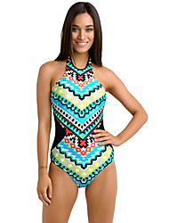 cheap -Women's Boho Colorful Tribal Print High Neck One Piece Maillot