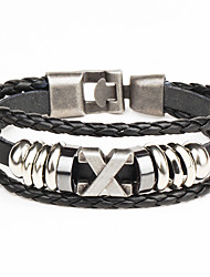 cheap -Punk Men's Bracelet PU Leather Bracelet Easy Hook X Shape for Men Fashion Jewelry Gifts