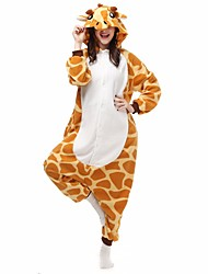 cheap -Kigurumi Pajamas Giraffe Onesie Pajamas Costume Flannel Toison Orange Cosplay For Adults' Animal Sleepwear Cartoon Halloween Festival /