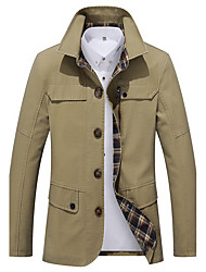 cheap -Men's Work Simple Casual Street chic Boho Plus Size Cotton Trench Coat-Solid Colored,Print Shirt Collar