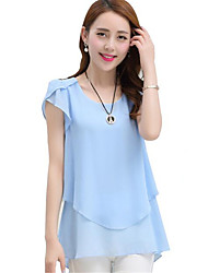 cheap -Women's Blouse - Solid Colored Ruffle / Summer