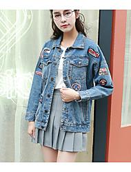 baratos -Mulheres Jaqueta jeans Simples Bordado