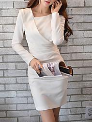 economico -DABUWAWA® Da donna Rotonda Maniche lunghe Asimmetrico Vestiti-D15CDR024