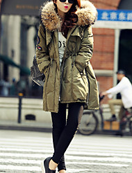 Women's Long Down Coat,Casual Daily Solid-Polyester White Duck Down Long Sleeves Hooded