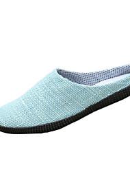cheap -Men's Flats Linen Fall Casual Lace-up Flat Heel Beige Dark Blue Brown Light Blue Flat