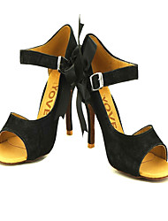 cheap -Women's Latin Salsa Ballroom Flocking Sandal Buckle Customized Heel Black Yellow Customizable