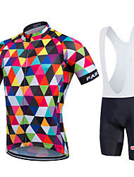 cheap -Fastcute Men's Women's Short Sleeves Cycling Jersey with Bib Shorts - Rainbow Bike Bib Shorts Bib Tights Jersey Clothing Suits, Quick