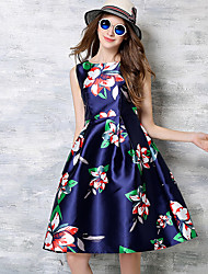 mulheres maxlindy de sair / cocktail / feriado do vintage / street chique / floral um vestido de linha sofisticada