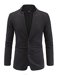 cheap -Men's Patchwork Casual / Formal / Plus Size Blazer,Cotton Long Sleeve Black