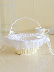 cheap -Rattan Flower Basket with Imitation Pearl for Wedding Flower Girl Basket(22*22*22)
