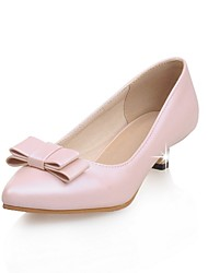 cheap -Women's Shoes Patent Leather Summer / Pointed Toe Heels Office & Career / Casual Low Heel Bowknot Pink / White / Almond