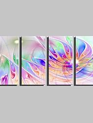Недорогие -ботанический Холст для печати 4 панели Готовы повесить , Вертикальная