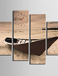 cheap -E-HOME® The Old Wooden Boat On The Beach Clock in Canvas 4pcs