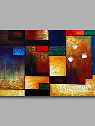 cheap -Stretched (Ready to hang) Hand-Painted Oil Painting 90cmx60cm Canvas Wall Art Modern Abstract Blue Orange