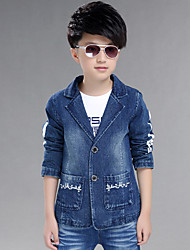 cheap -Boy's Cotton Spring/Autumn Fashion Cartoon Print Suit Collar Cowboy Outerwear Long Sleeve Denim Jacket Coat