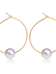 cheap -Women's Hoop Earrings Party Work Casual Fashion Pearl Alloy Circle Geometric Jewelry Wedding Daily Casual