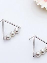 abordables -Mujer Pendientes cortos - Perla, Plata de ley, Plata Importante, Personalizado, Vintage Plata / Dorado Para Diario / Casual