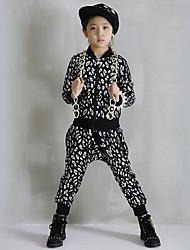 cheap -Girl's Cotton Spring/Autumn Leopard Print Hip-hop Costume Long Sleeve Coat And Hallen Pants Sport Suit Two-piece Set