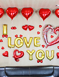 Alphabet Letters I Love You Balloons Set(34 Balloons, 1 Inflator, 1 Silk Ribbon) For Wedding Party Decoration