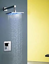 preiswerte -Moderne Modern Wandmontage Handdusche inklusive LED Keramisches Ventil Einhand Ein Loch Chrom, Duscharmaturen Badewannenarmaturen